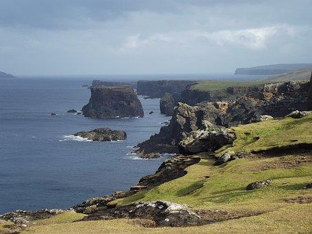 Coast, Cliff, Remote, Shetland, Rocky, Nature, Sea