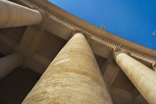 Vatican, Columns, Sky, Italy, Rome, Architecture