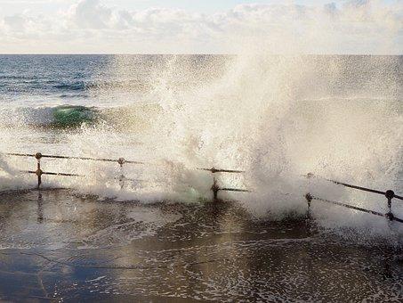 Promenade, Bank, Water, Spray, Ocean, Sea, Coast, Wind