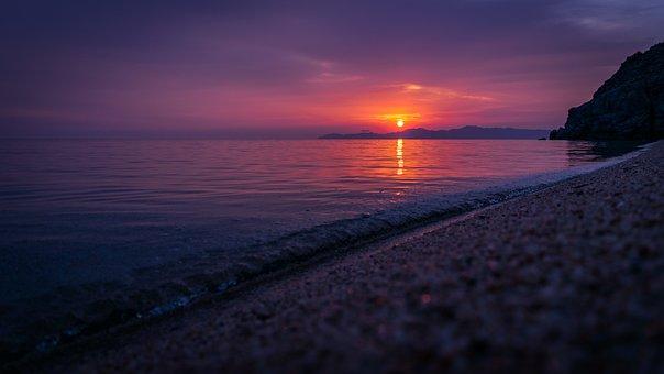 Dawn, Beach, Sun, Ocean, Landscape, Sand, Sunrise