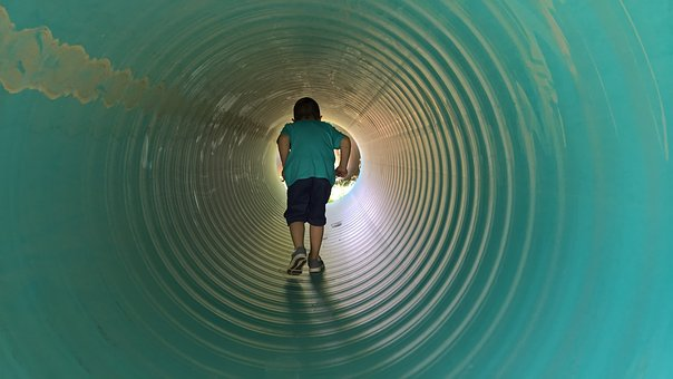 Child, Kid, Boy, Childhood, Young, Tunnel, Passage, Way