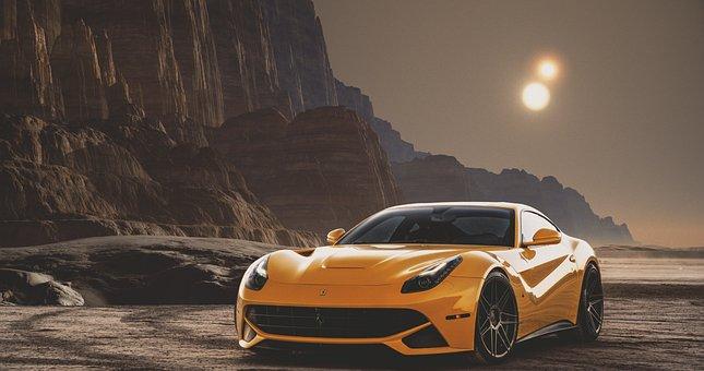 Car, Sport, Motor, Vehicle, Sun, Mountain, Luxury, Fast