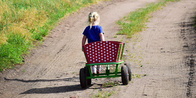 Girl, Child, Blond, Stroller, Handcart, Wood Car, Walk