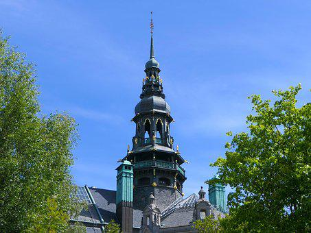 Church, Bell Tower, Trees, Architecture, Stockholm