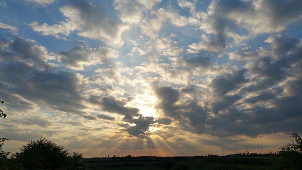 Sky, Sun, Clouds, Skyline, Sun Rays