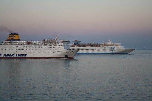 Hellas, Boat, Pireus-port, Sunrise, Cruise, Sea, Nature