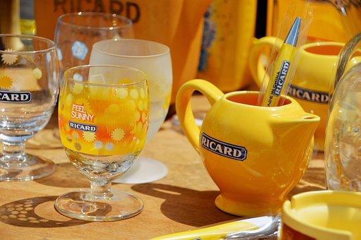Table, Glass, Ricard, Drink, Mark, Anise, Anisette