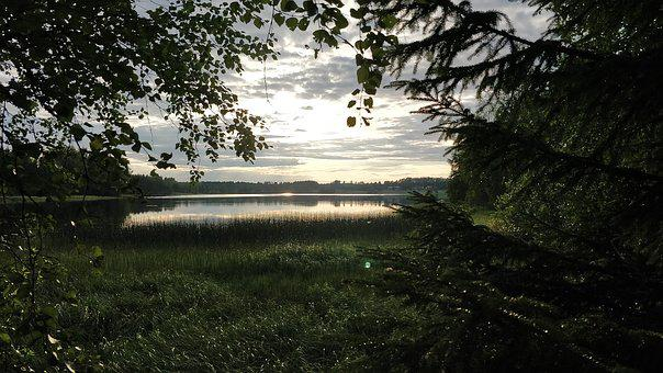 Finland, Summer, Evening, Nature, Water, Landscape, Sky