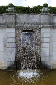 Fountain, Castle, Wall, Water, Garden, Symmetry