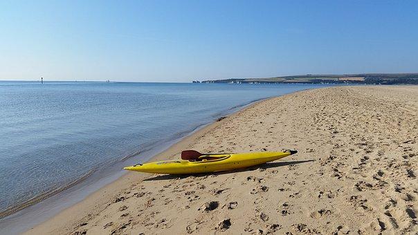 Kayak, Beach, England, Dorset, Sea, Summer, Sand, Sky