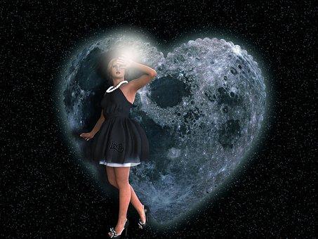 Romantic, Girl, Love, Night, Fantasy, Moon, Light, Star