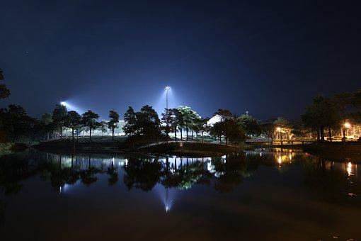Reflection, Night Photography, Lake, Light Pole