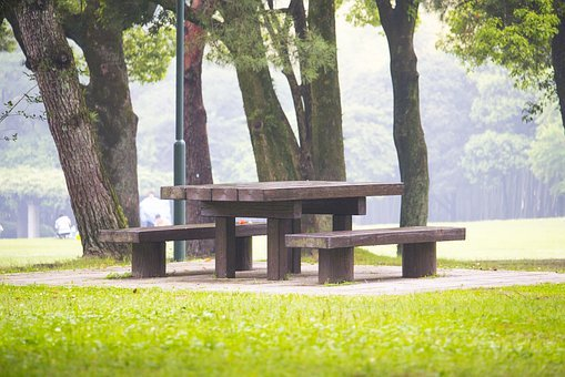 Park, Bench, Outdoors, Scenic, Peaceful, Empty