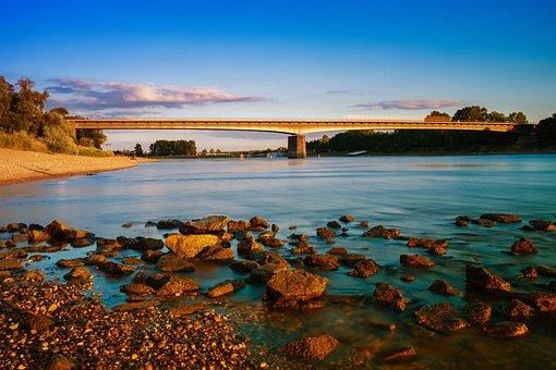 Water, River, Waters, Rhine, Bridge, Rheinbrücke, Bank