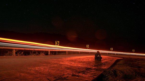 Night, Road, Light, Long Exposition, Street, Landscape