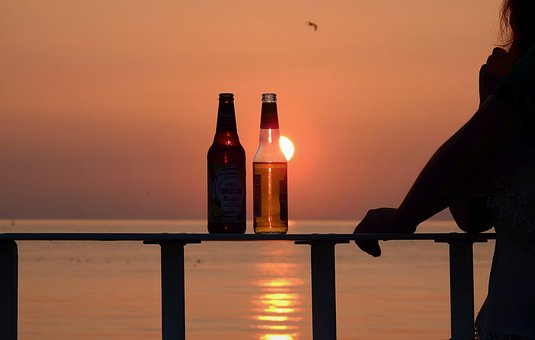 The Bottle, A Pair Of Lovers, Sunset, Romantic, Sea