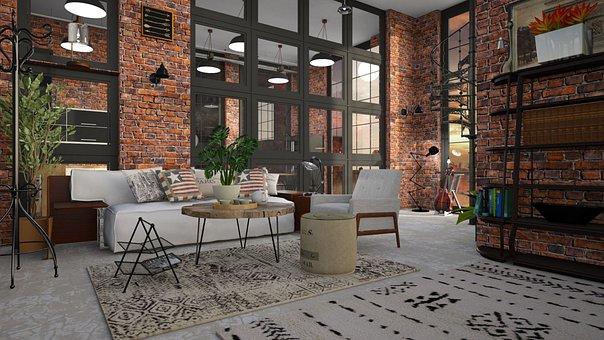 Loft, Brick, Sofa, Room, Window, Couch, Furniture