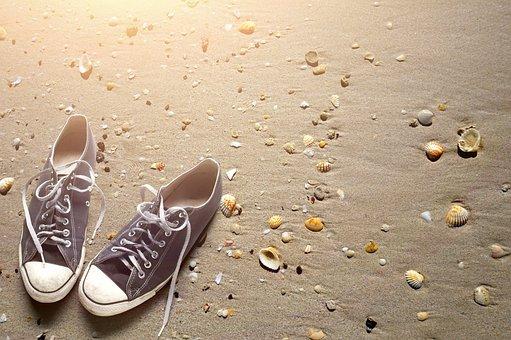 Beach, Sand, Shoes, Shells
