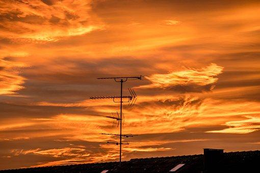 Afterglow, Abendstimmung, Sunset, Sky, Clouds, Orange