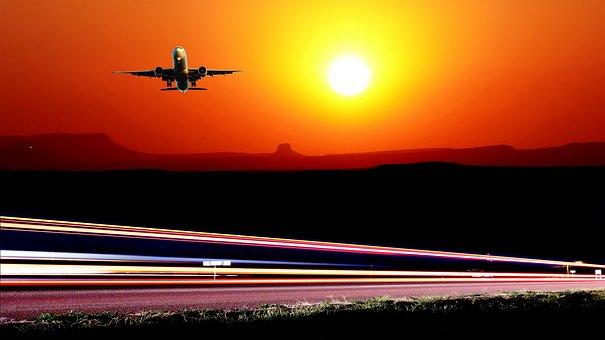Sunset, Light, Night, Vehicles, Sky, Landscape, Road