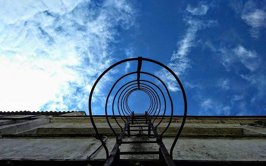 Sky, Ladder, Warehouse, Blue, Clouds, Space, Looking Up
