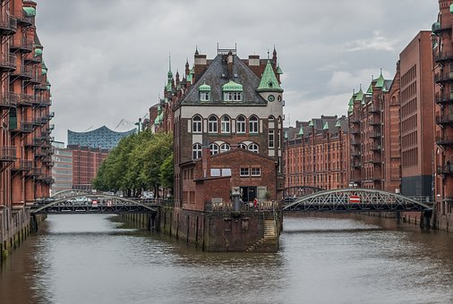 Hamburg, Speicherstadt, Moated Castle