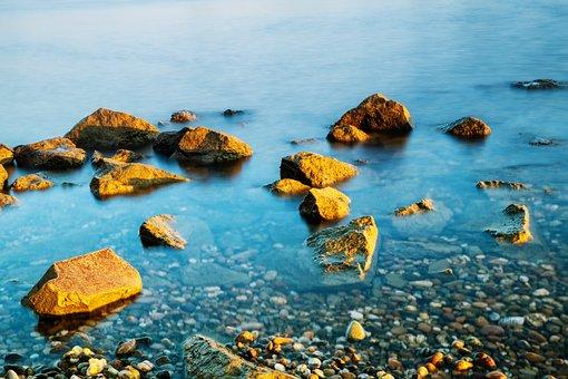 Water, River, Waters, Bank, Stones, Steinig, Mood
