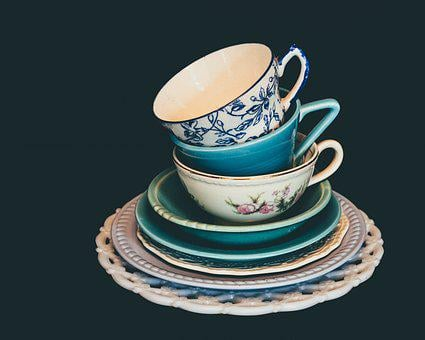 Dishes, Vintage, Table, Plate, Flowers, Decoration