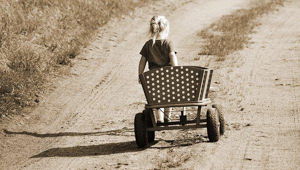Girl, Stroller, Handcart, Wood Car, Child, Lonely, Walk