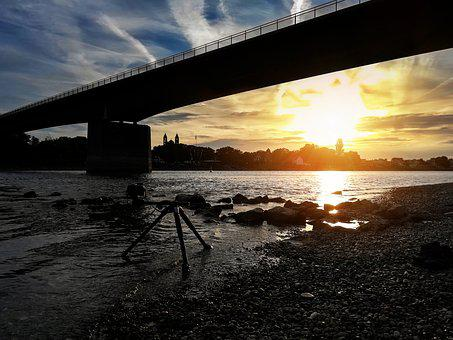 Sunset, Sun, Afterglow, Bank, Stones, River, Water