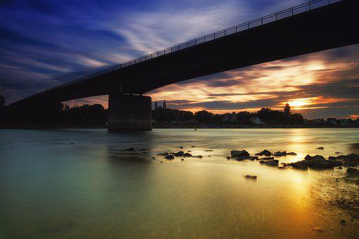 Sun, Sunset, Water, River, Waters, Rhine, Bridge