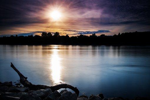 Sun, Sunset, Water, River, Waters, Rhine, Bank