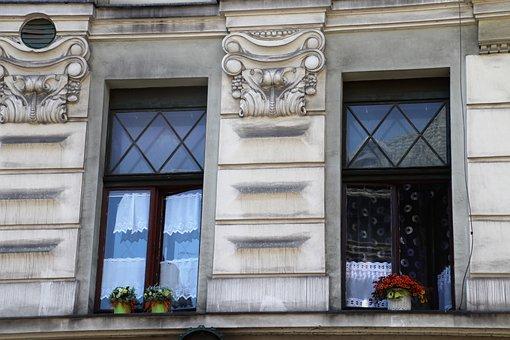 Old Windows, Window Sill, Kamienica, Wall, Monument