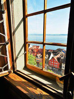 Window, View, Lake Constance, Wood, Window Sill
