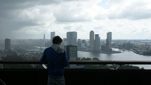 Rotterdam, Boy, Skyline, Port, Water, Cityscape