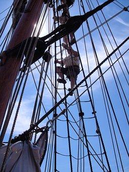 Sailor, Sailing Ship, Rigging, Climbing, Ship, Sailboat