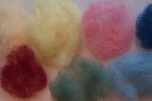 Wool Felt, Sheep's Wool, Colored Raw Wool, Colorful