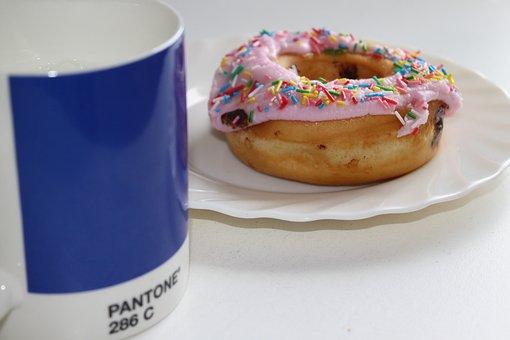 Breakfast, Mug, Cup, Food, Caffeine, Donut, Coffee