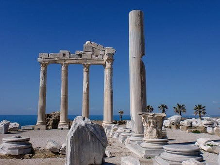 Alanya, Turkey, Side, Temple, Building, Holiday, Sea