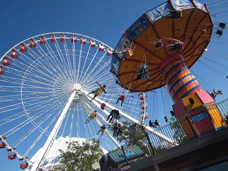 Chicago, Navy Pier, Ferris Wheel, Illinois, Pier, Lake