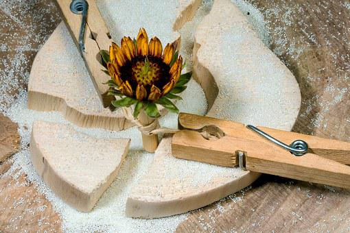 Wood, Clothespins, Flower, Keep Together, Wood Clamp