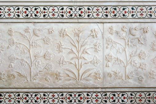 India, Agra, Taj Mahal, Marble, Bas-relief, Inlays