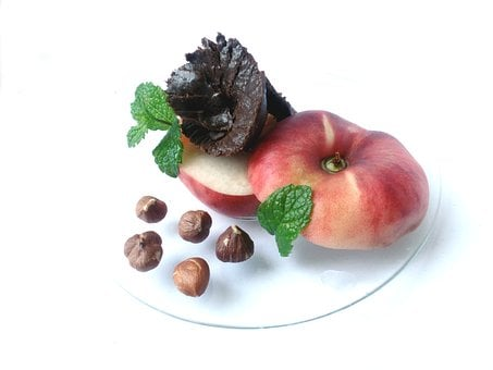 Peach, Nutella, Nuts, Mint, Hazelnut, Hazelnuts, Food