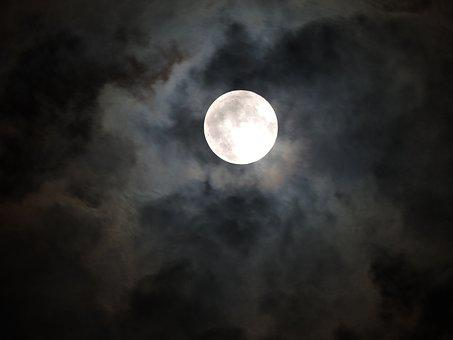 Moonlight, Moon, Spooky, Cloudy Night
