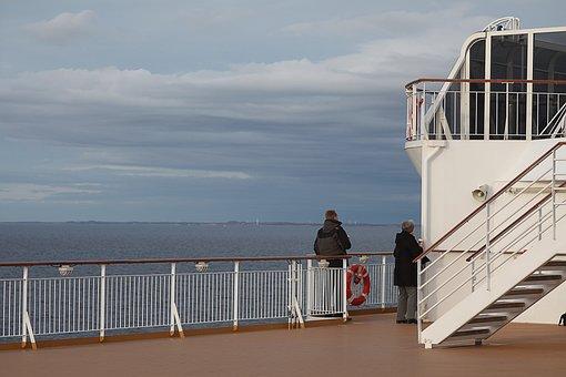 On Bord, Ferry, Kiel, Norway, Sun, Ship, Nature