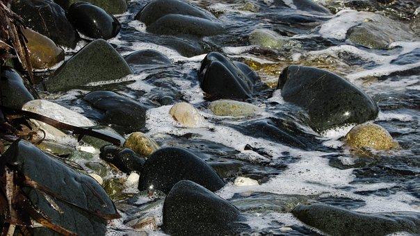 Pebble Beach, Stones, Wave, Sea, Foam, Bubbles, Nature