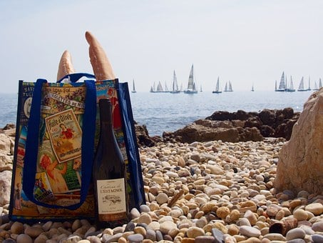 Picnic, Sea, Beach, French Bread, Antibes