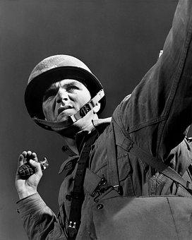 Hand Grenade, Grenade, Soldier, Throw, War, Military