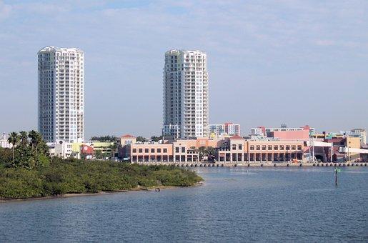Tampa, Florida, Skyline, City, Tropical, River, Bay