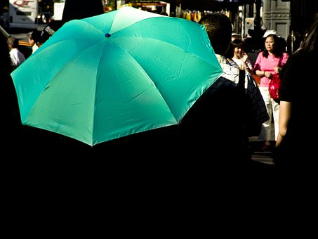 Umbrella, Rain Cover, Bumbershoot, Brolly, Turquoise